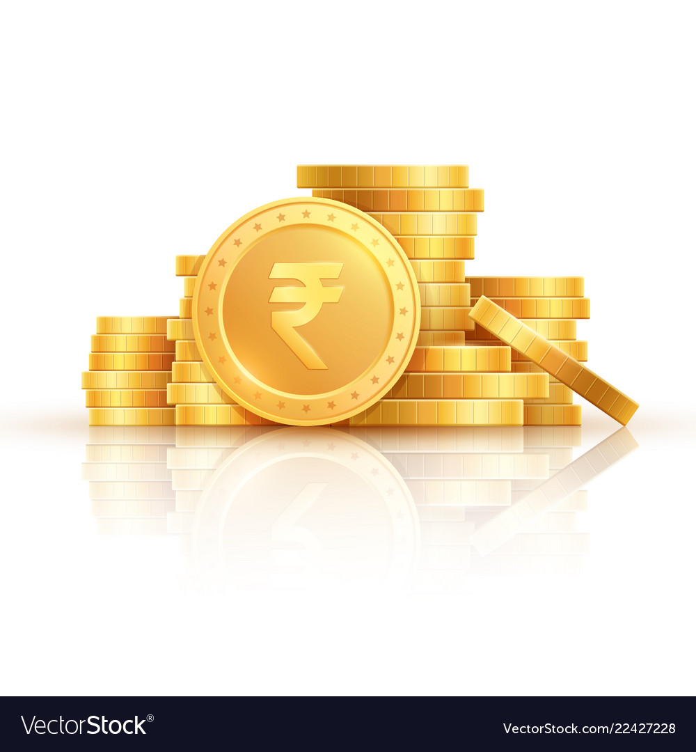 Gold rupee coins indian money stacked golden