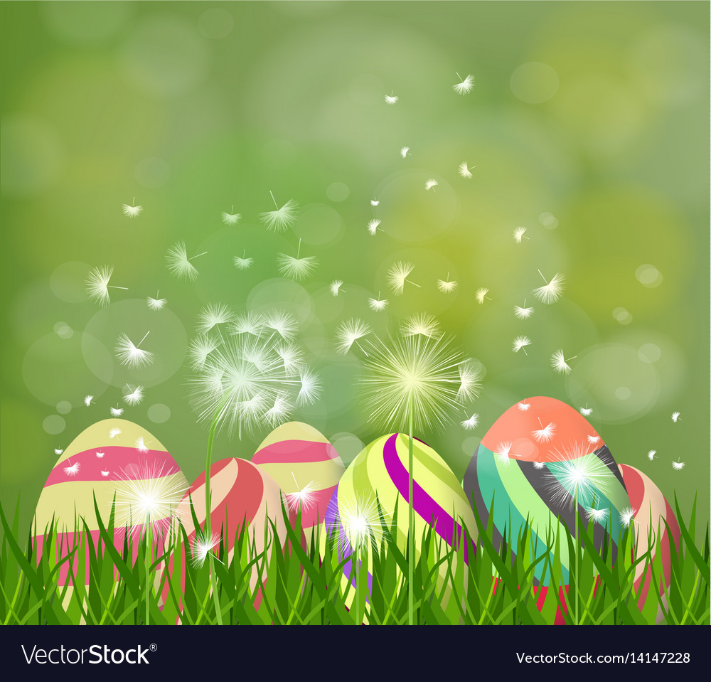 Happy easter eggs spring background with white