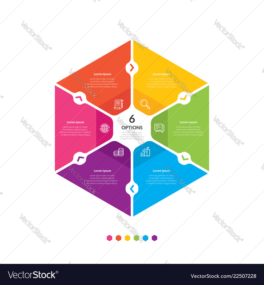 Hexagon chart infographic template with 6 options vector
