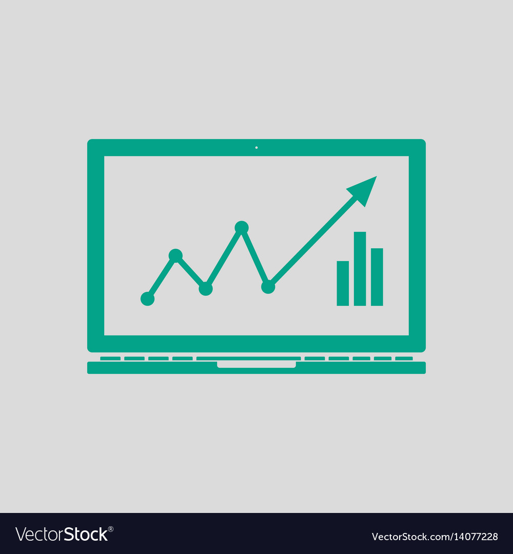 Laptop with chart icon vector image
