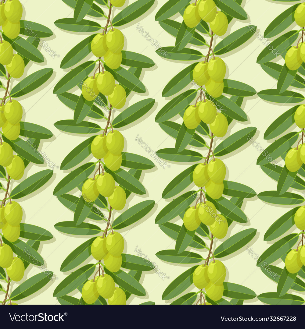 Olive branches green seamless pattern