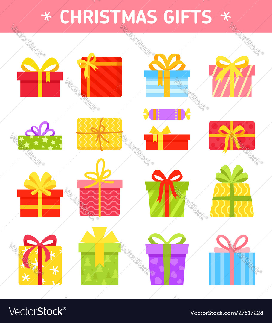 Set colorful wrapped gift boxes