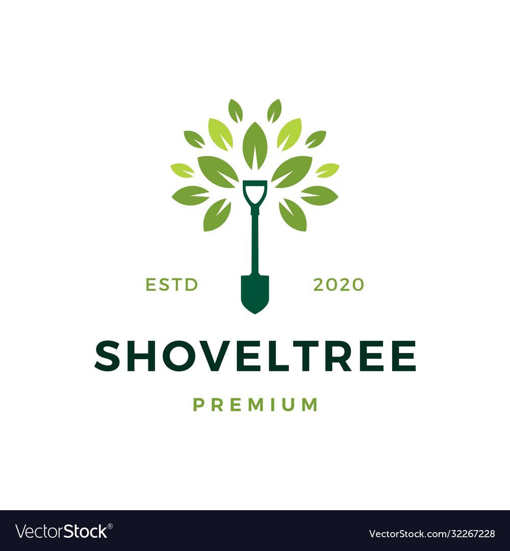 Shovel tree sprout garden leaf logo icon