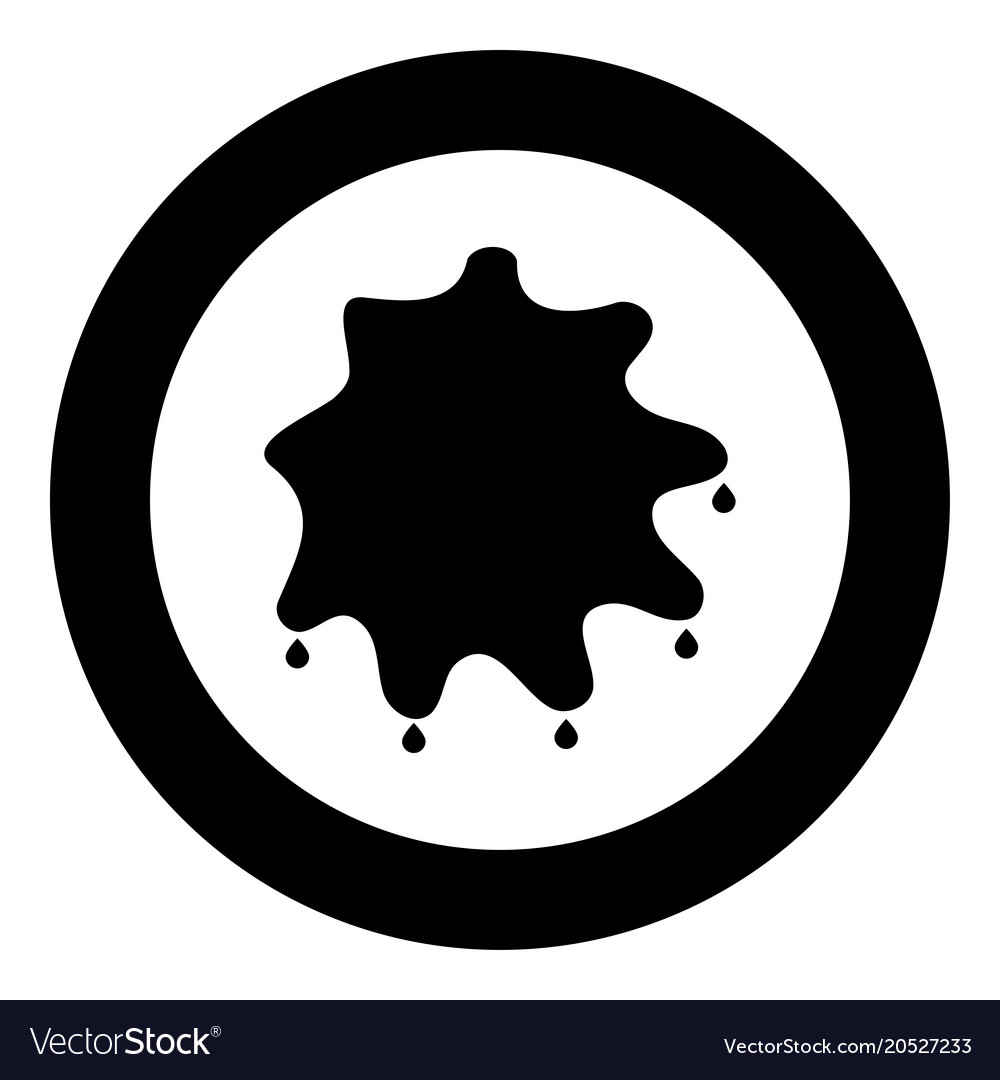 Abstract Ink Blot Black Icon In Circle Isolated