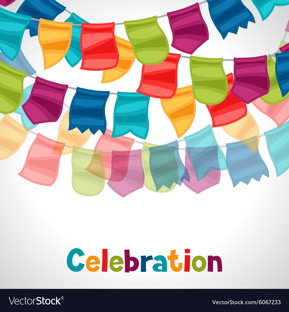 Celebration holiday greeting card with garland of