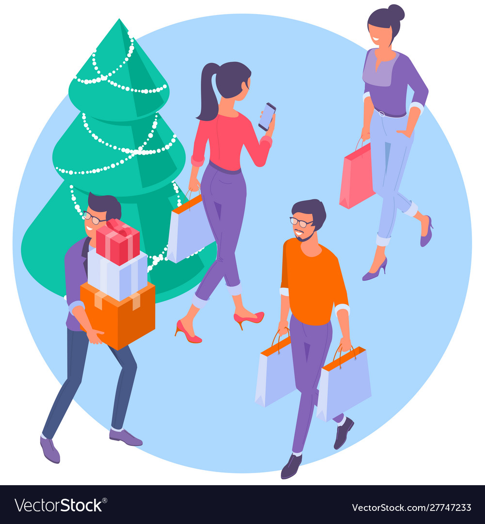 Christmas people with shopping bags