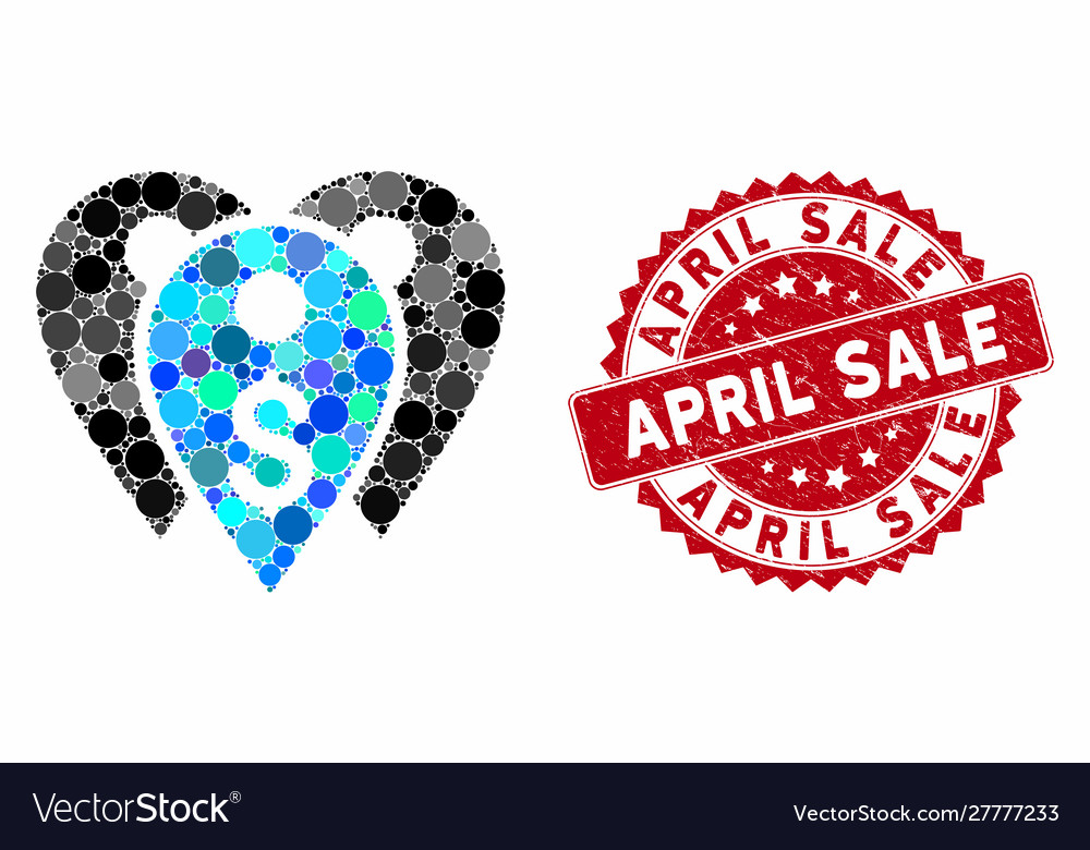 Design Bank Sale.Collage Bank Marks With Scratched April Sale Stamp