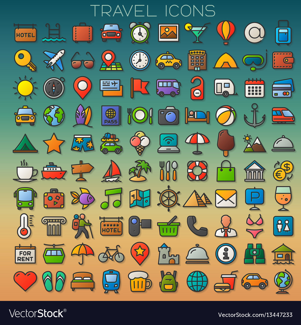 Colorful travel line icons set