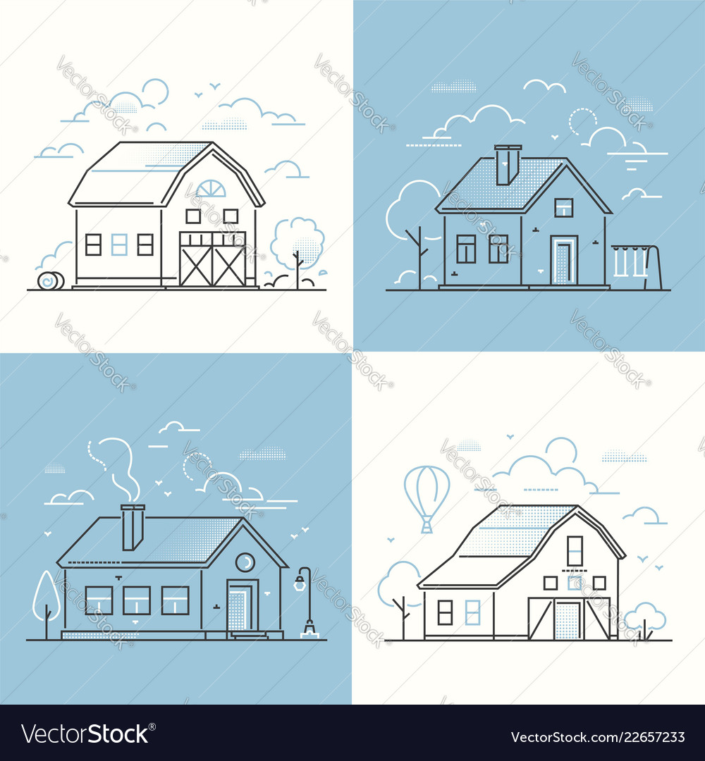 Cottage houses - set of thin line design style