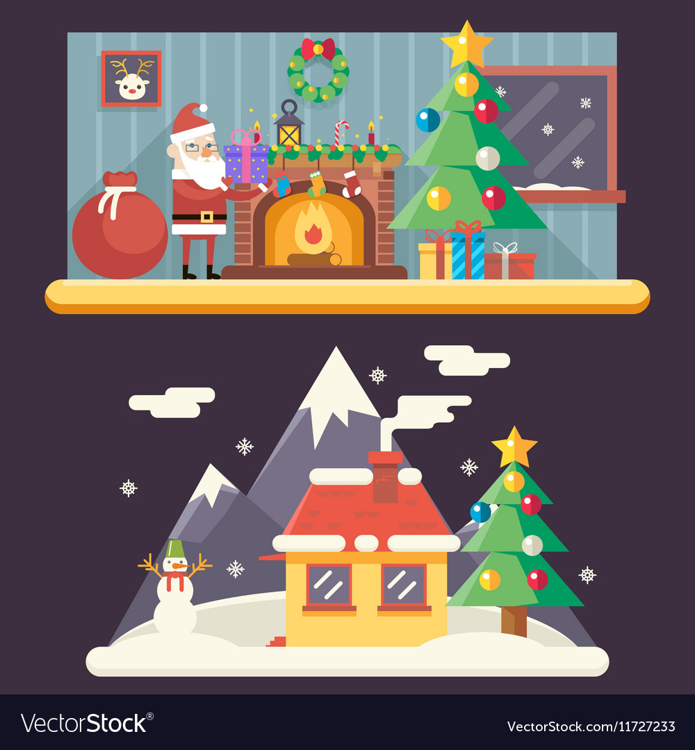 Cristmas Room New Year House Landscape Santa Claus