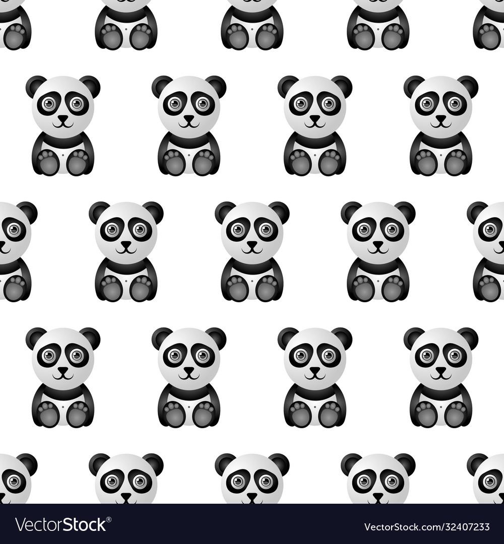 Cute and funny panda character seamless pattern