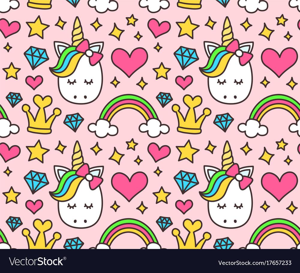 Cute unicorn princess concept girl beauty vector image
