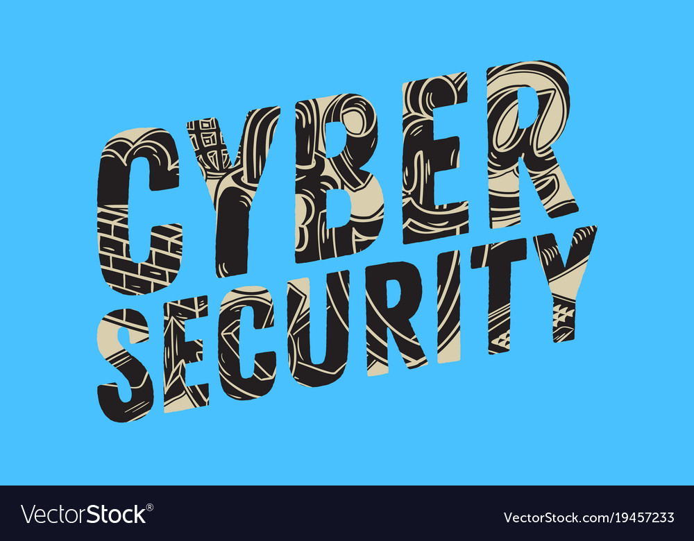 Cyber security safety design with related icons