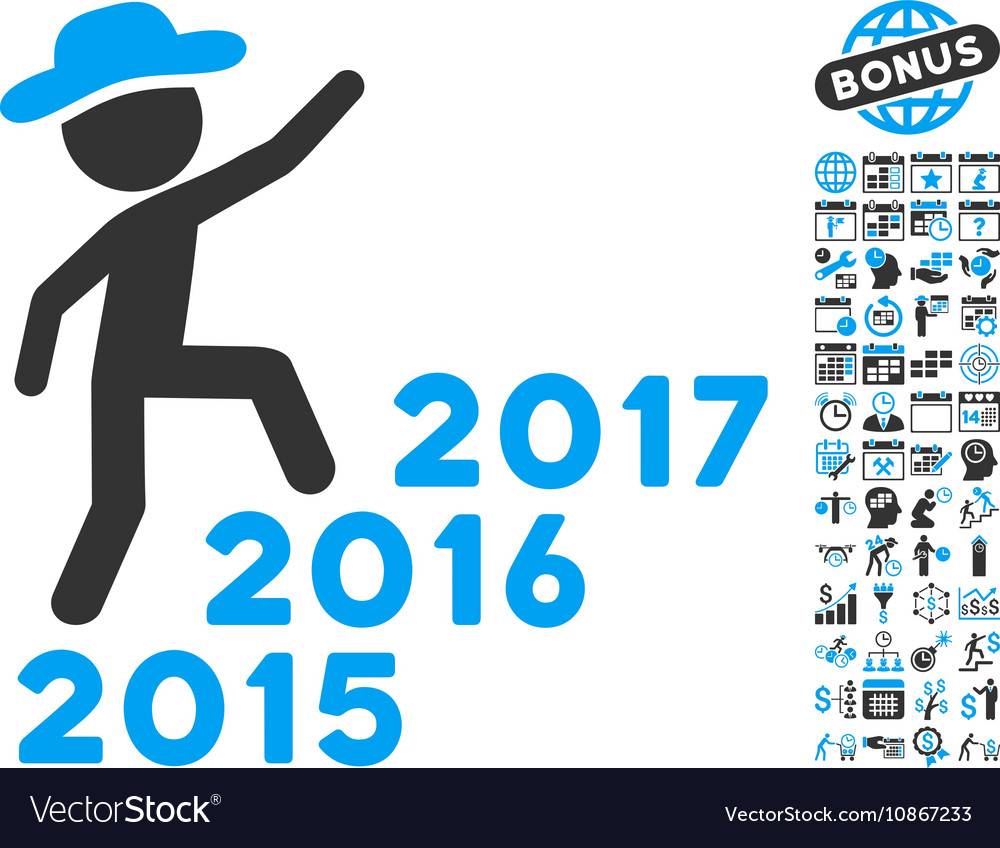 Gentleman Steps Years Flat Icon With Bonus vector image