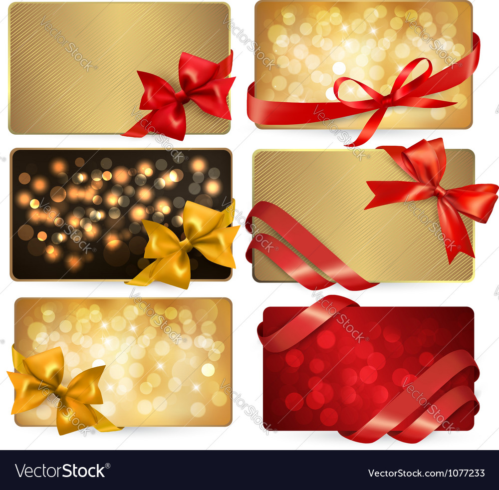 Gift cards with red gift bows