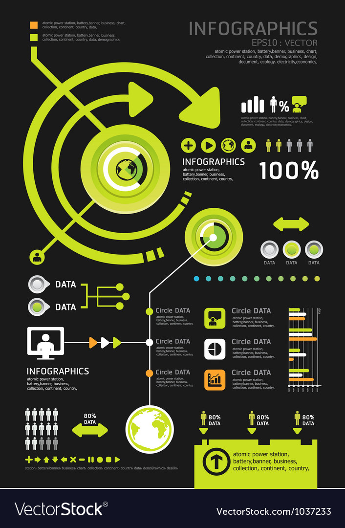 Infographics set and Information technology