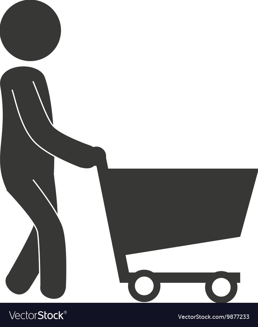 Man cart shopping icon
