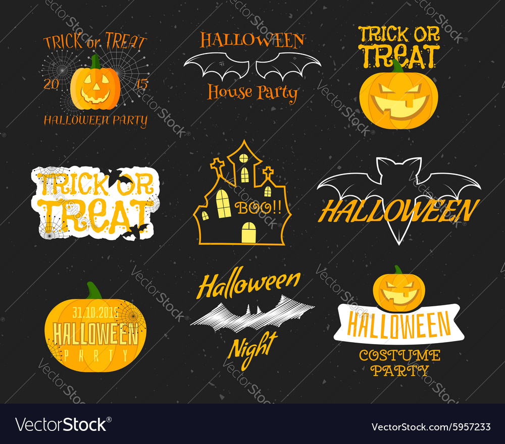 Set Of Vintage Happy Halloween Badges Labels