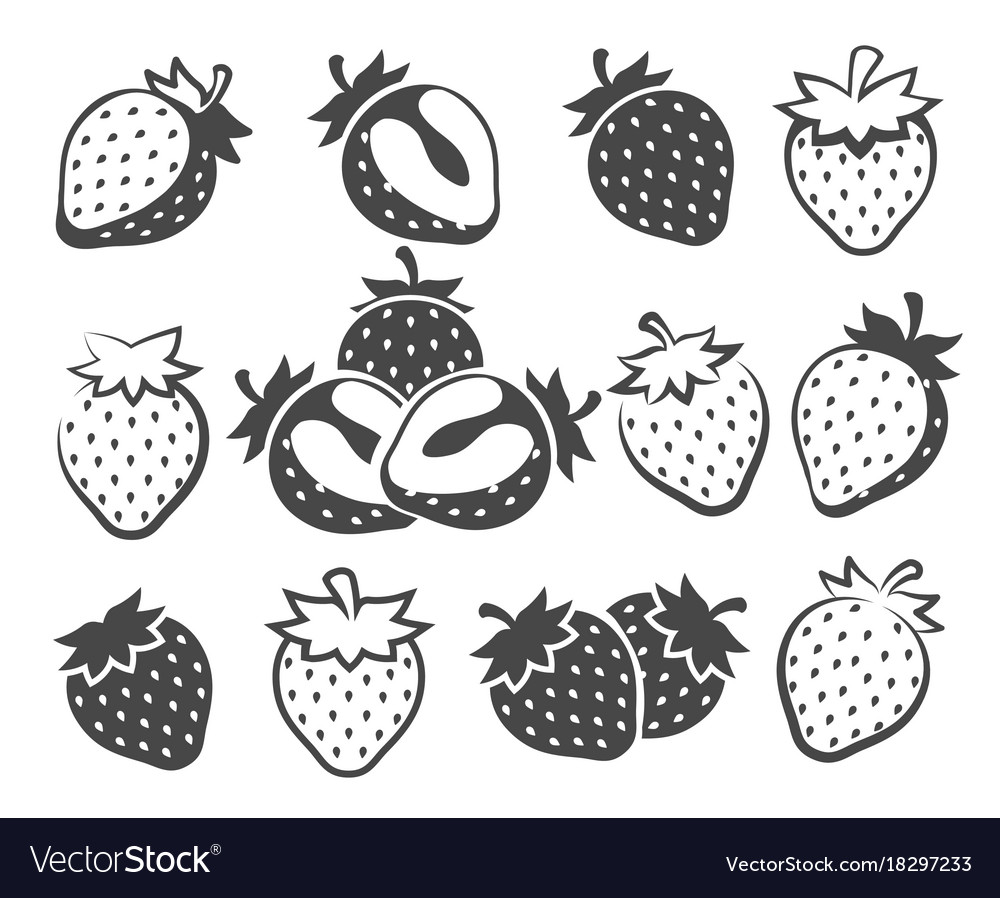 Strawberry silhouette icons