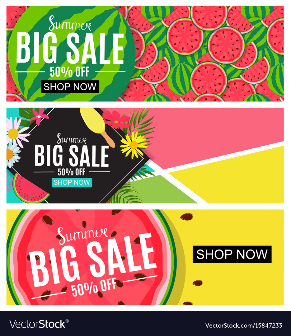 Summer sale abstract banner collection set