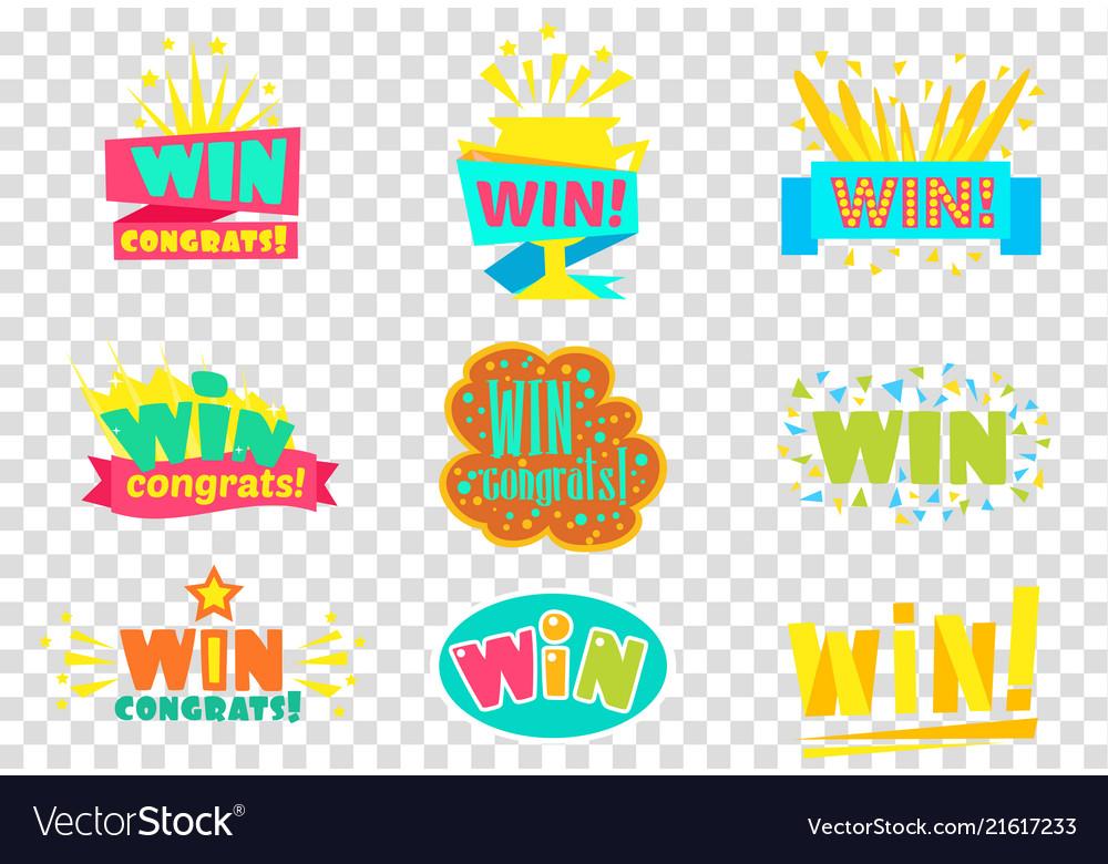 Win congratulations logo set colorful sickers