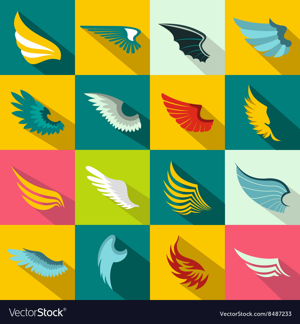 Wings icons set flat style