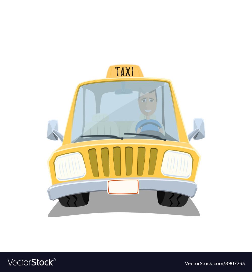 Yellow cartoon taxi car