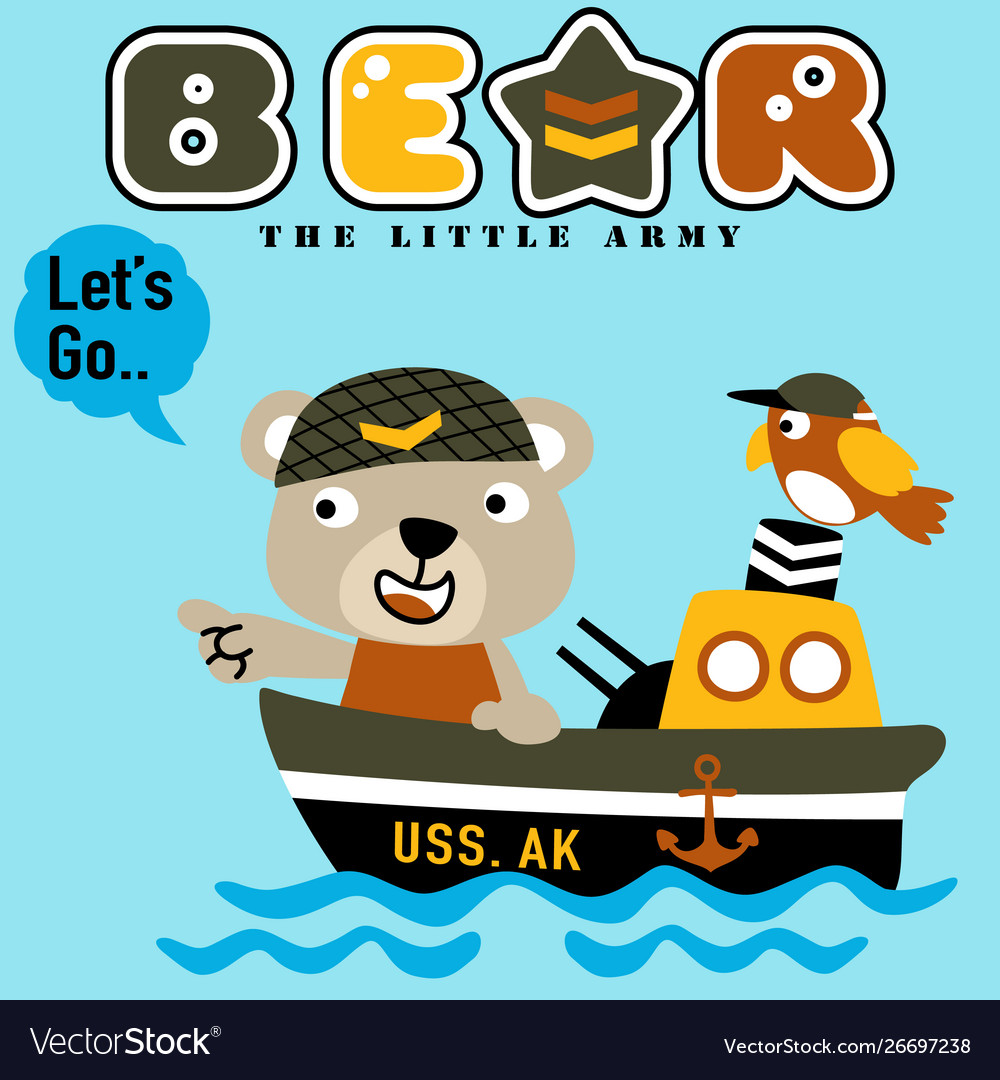 Bear On War Ship With Its Little Friend Kids T
