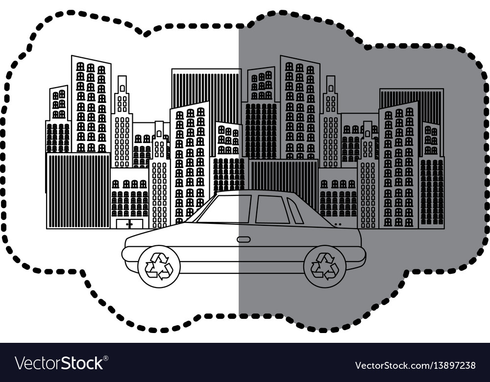 Black silhouette sticker of city buildings and car vector image