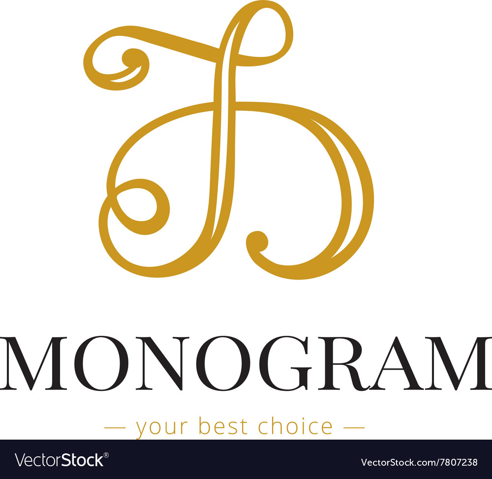 Elegant hand lettered D letter monogram