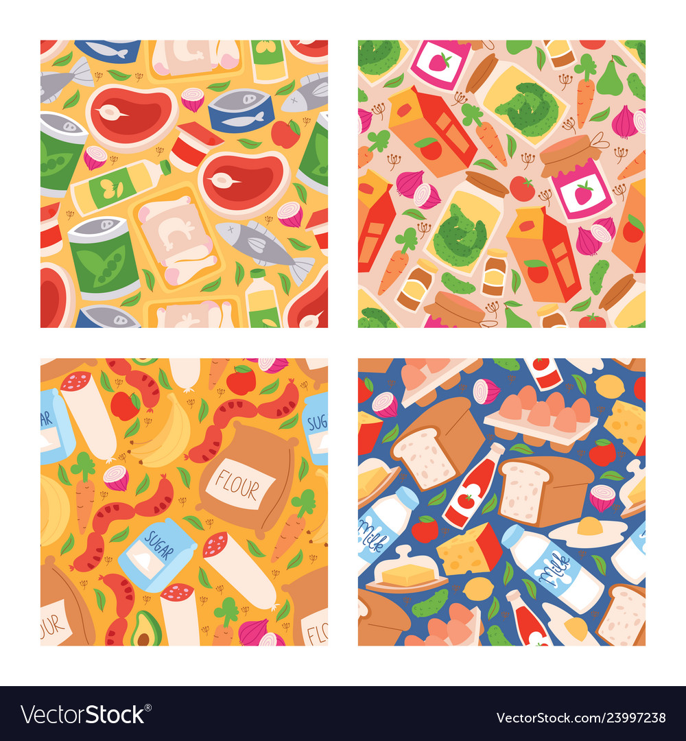 Food seamless pattern meal vegetables fruits and