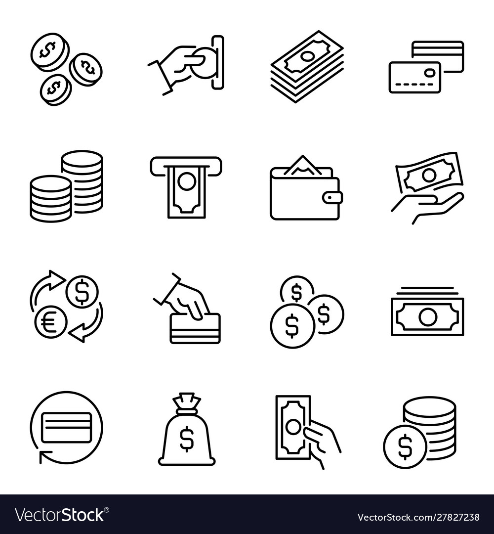 Money funds and finances linear icons set