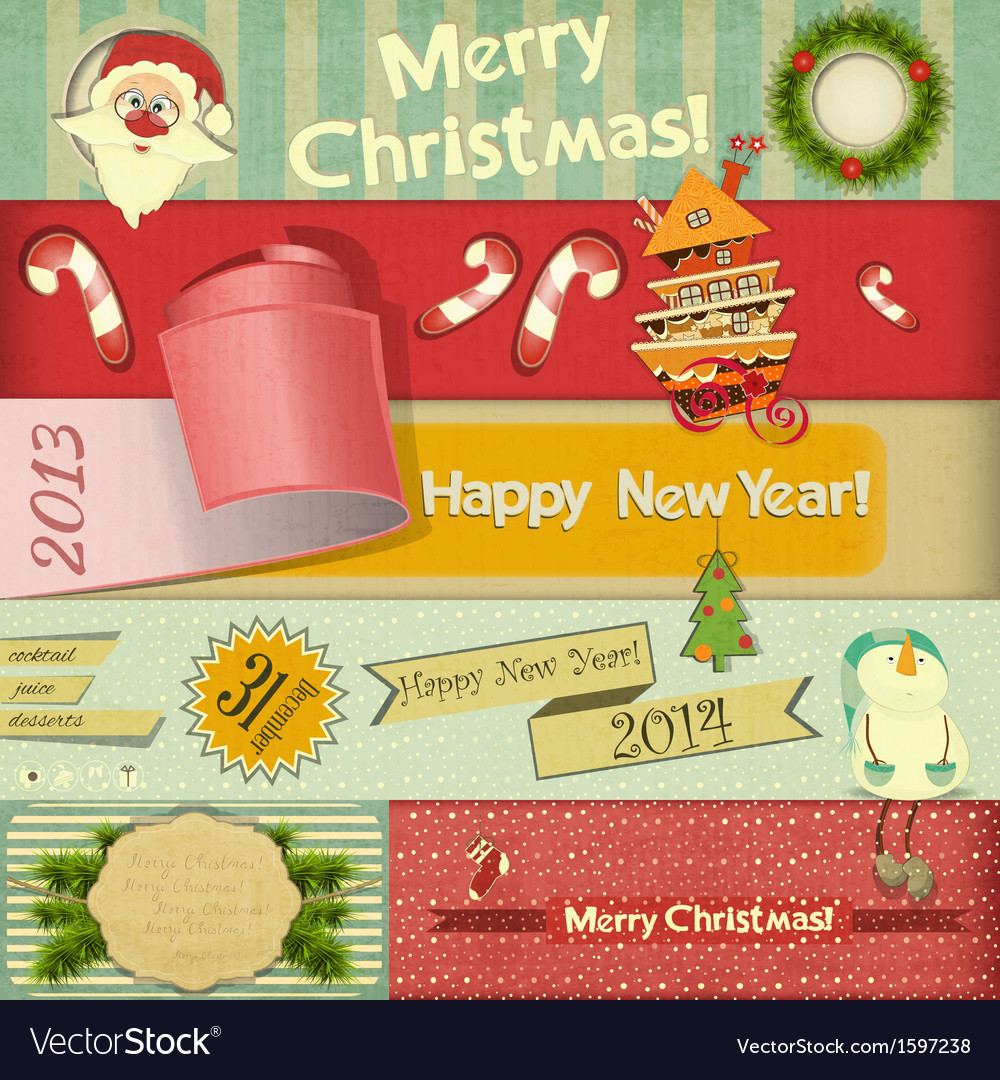 Old Christmas and New Year Postcard