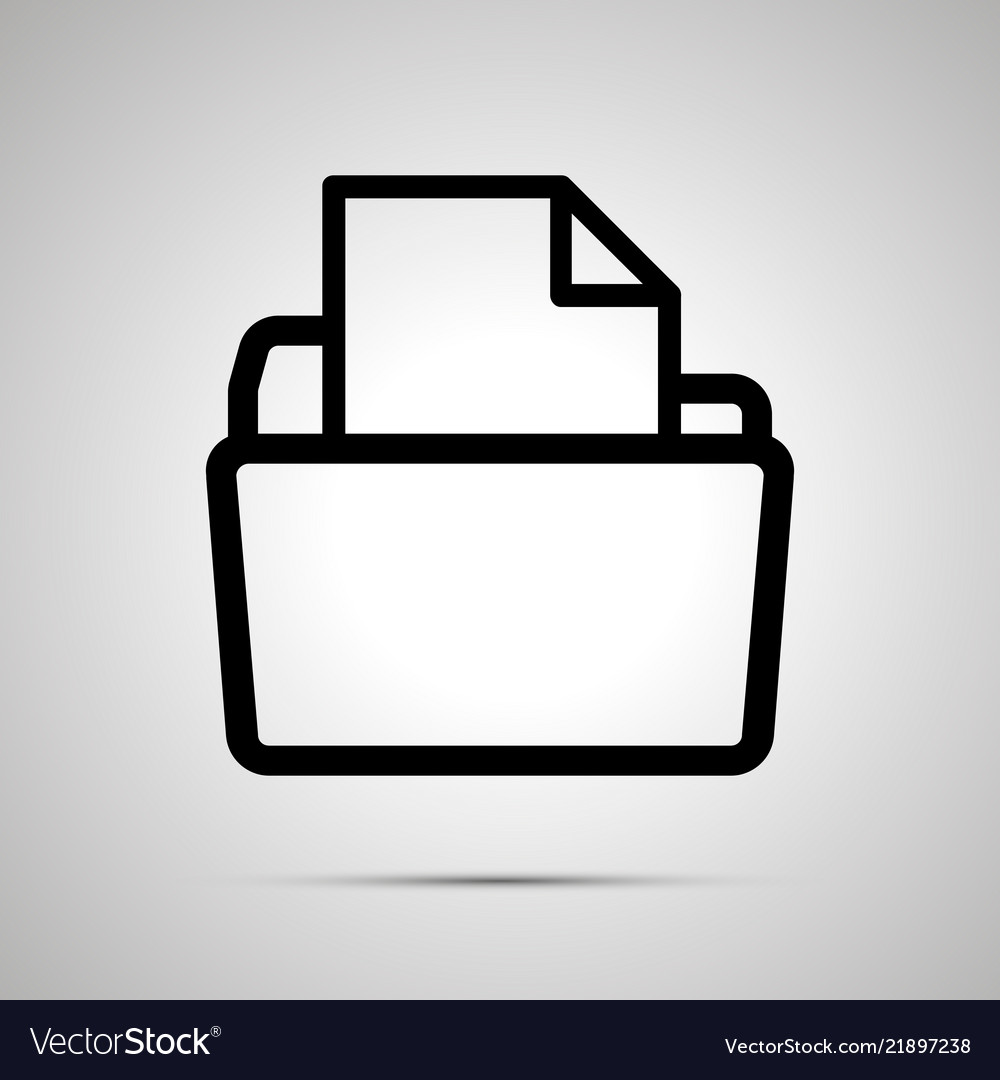 Open folder with document simple black icon with
