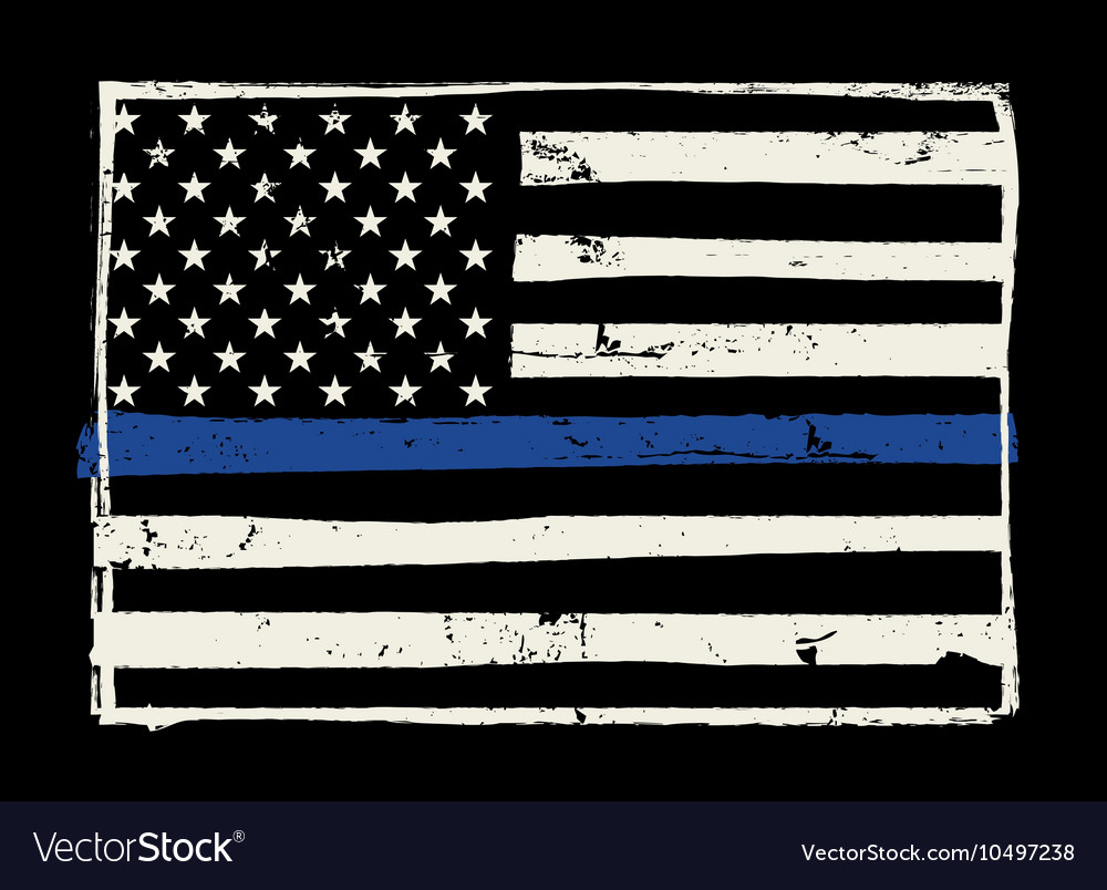 Police Support Flag Grunge Hand Drawn Royalty Free Vector