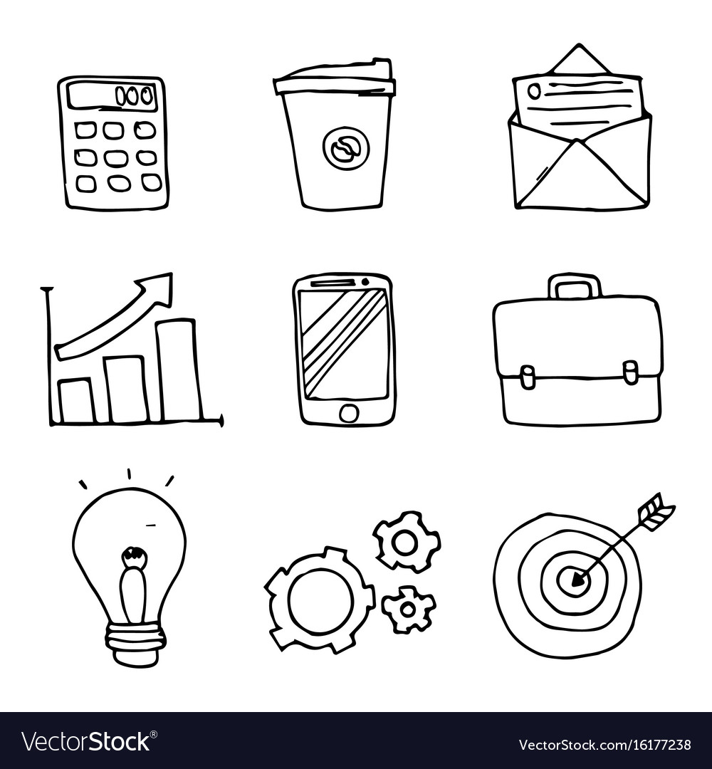 Set of business doodle icons on white background vector image