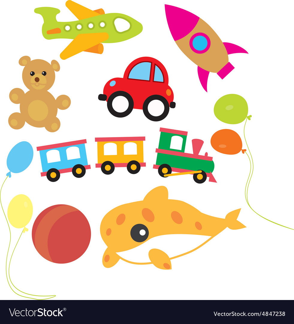 Set of child and kids toys Royalty Free Vector Image
