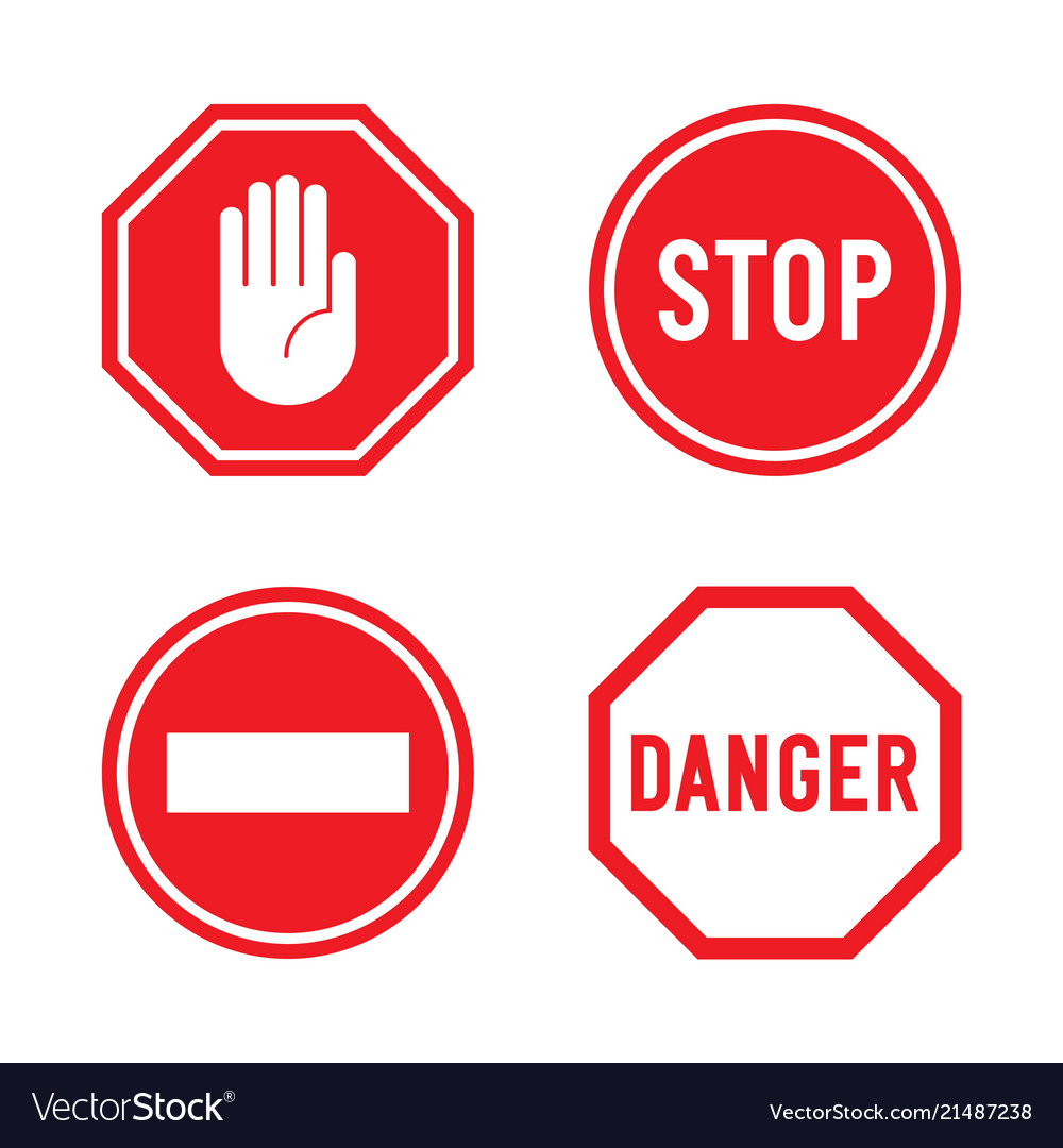 Set of stop signs and danger signs