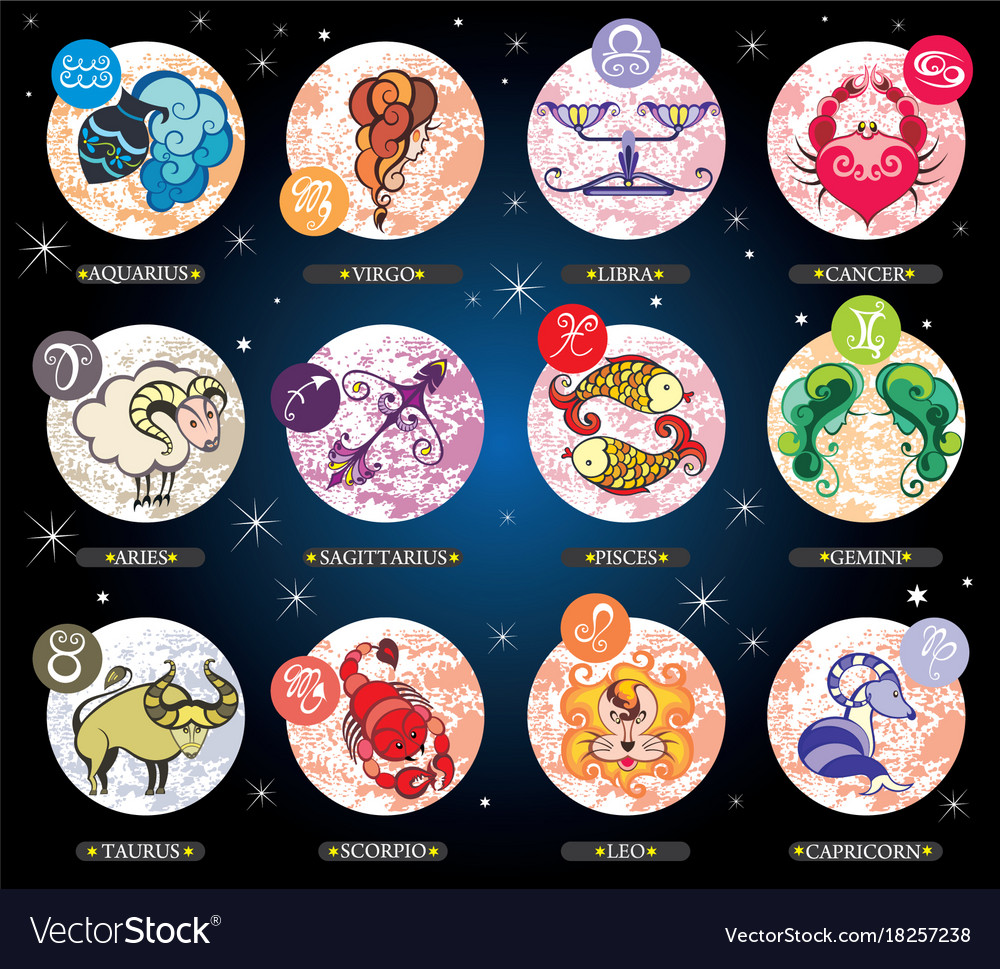 Set with cartoon zodiac signs