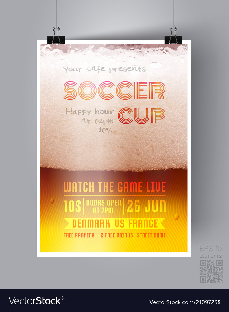 Soccer Cup Flyer Template Royalty Free Vector Image