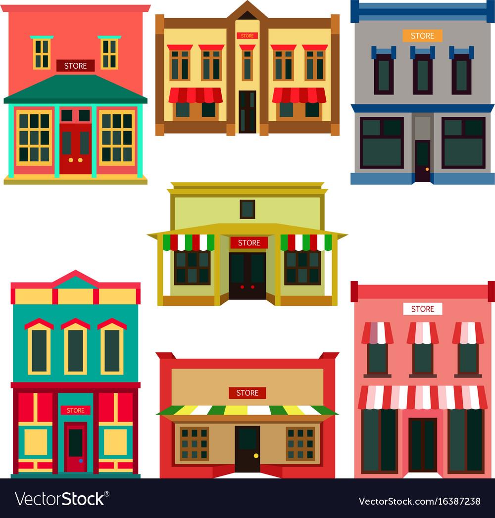 Store shop front window buildings color icon set