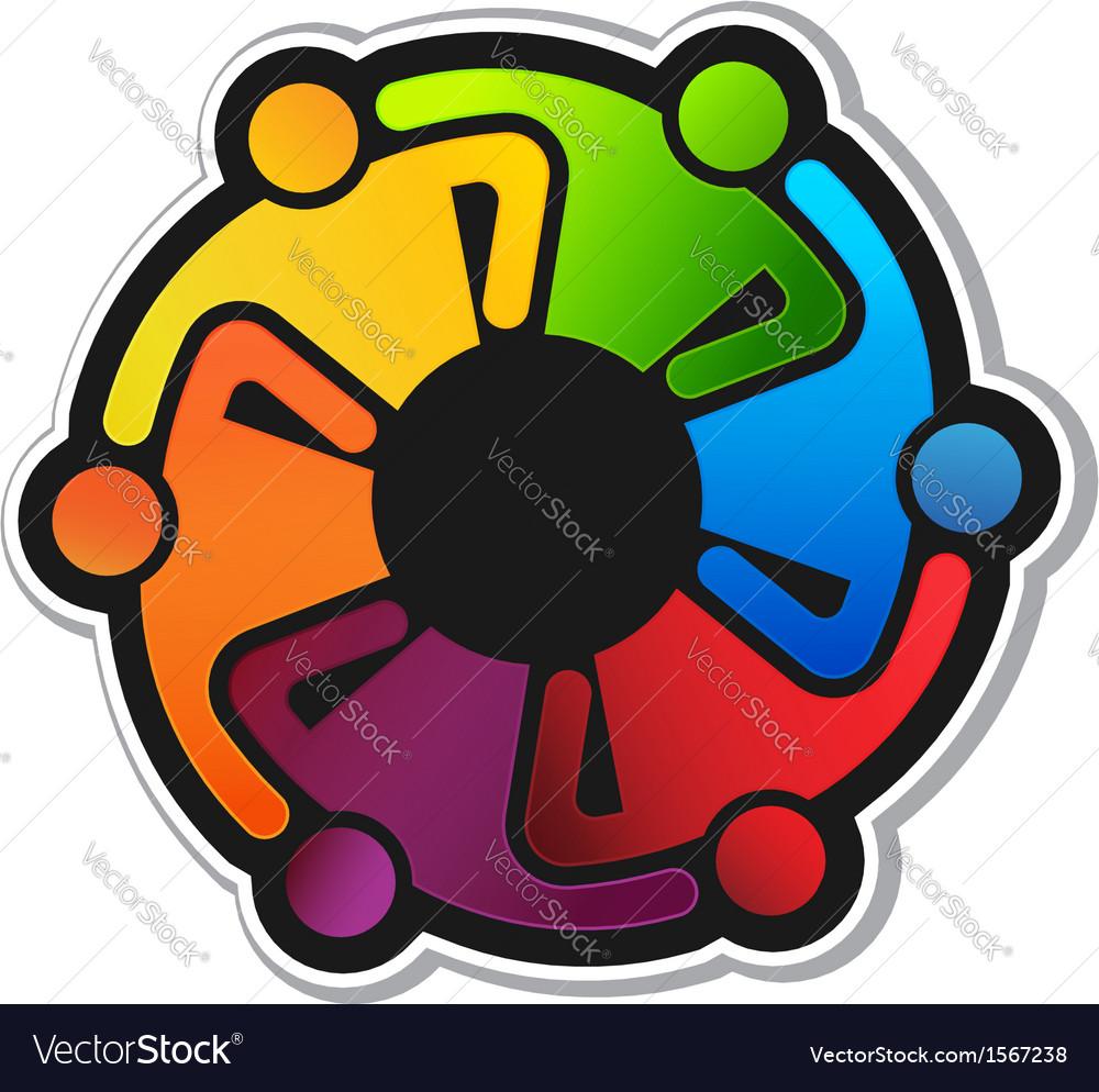 Teamwork Hug 6 Logo vector image