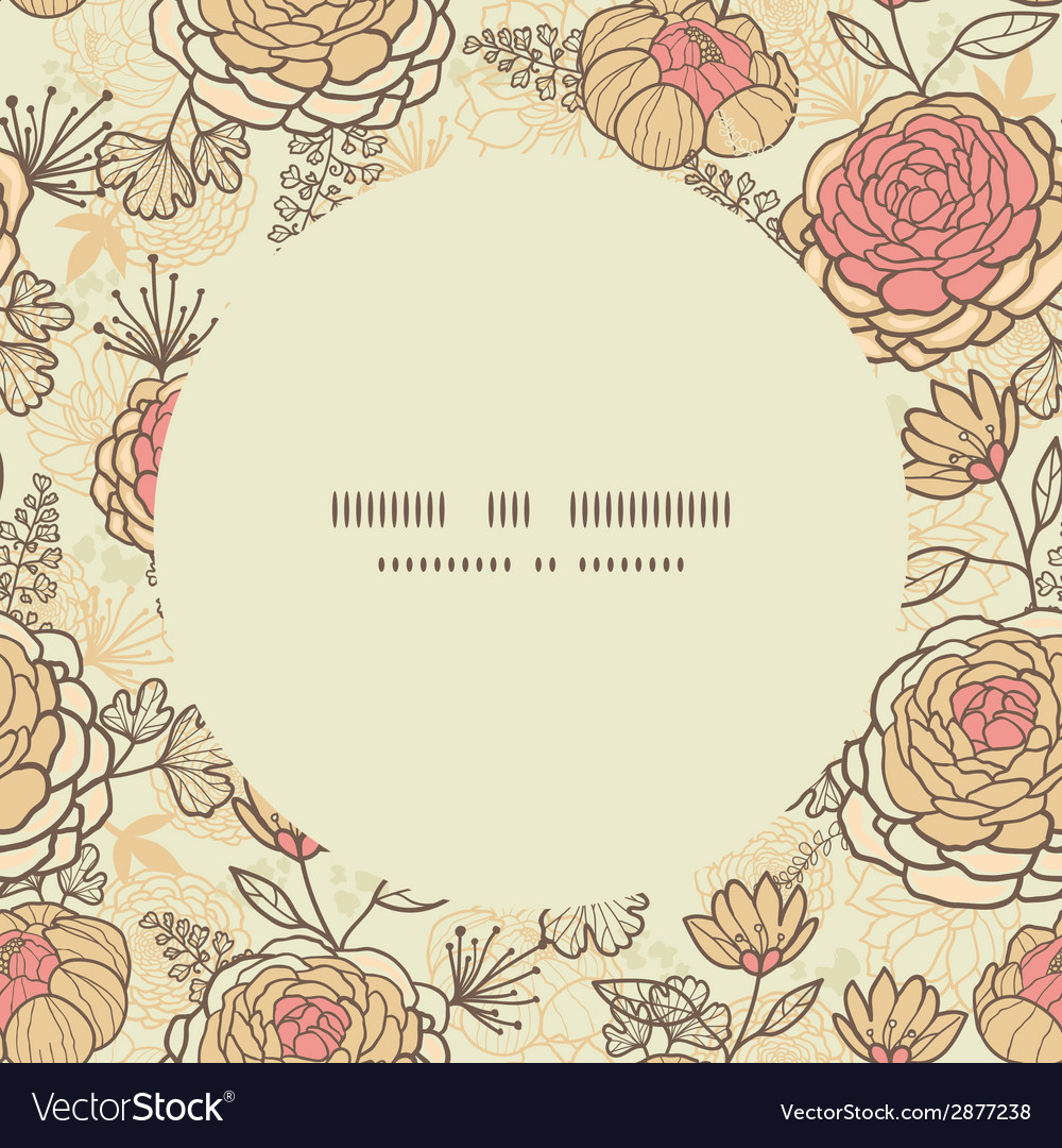 Vintage Brown Pink Flowers Circle Frame Seamless Vector Image