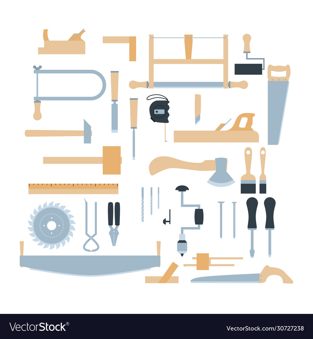 Woodwork tool kit set hand carpentry equipment vector