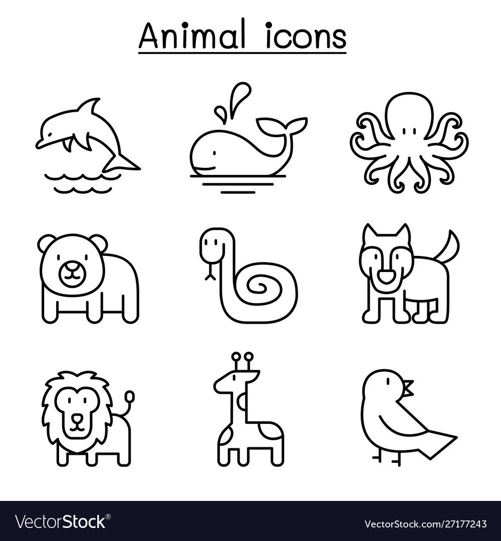 Animal icon set in thin line style