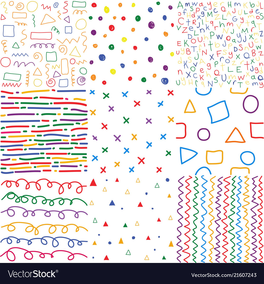 Colorful children hand drawn seamless patterns