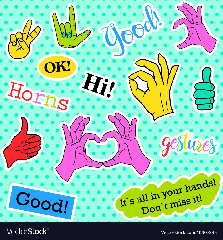 Fashion patch badges Pop art Hands set Stickers