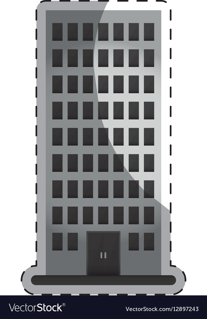 Grayscale apartment building line sticker