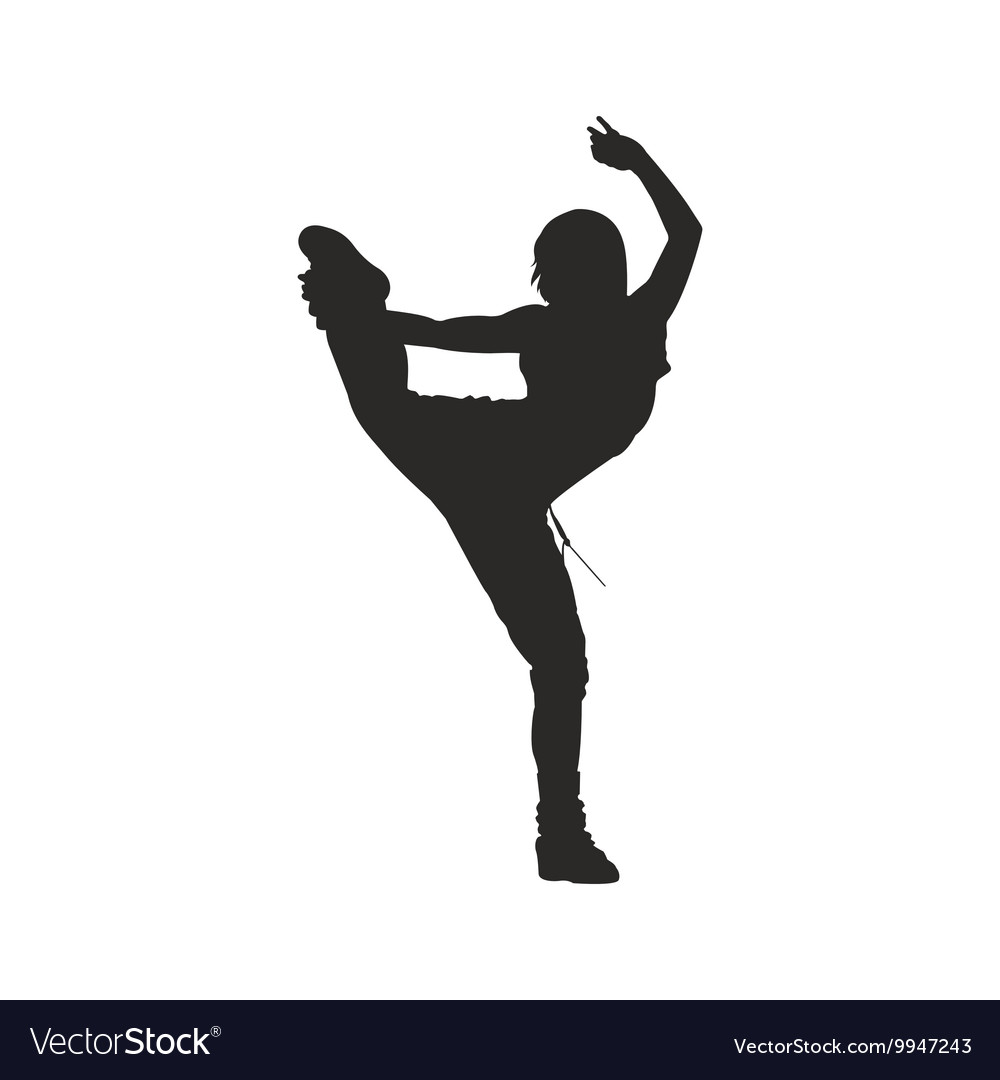 Hip hop dancer silhouette woman Royalty Free Vector Image
