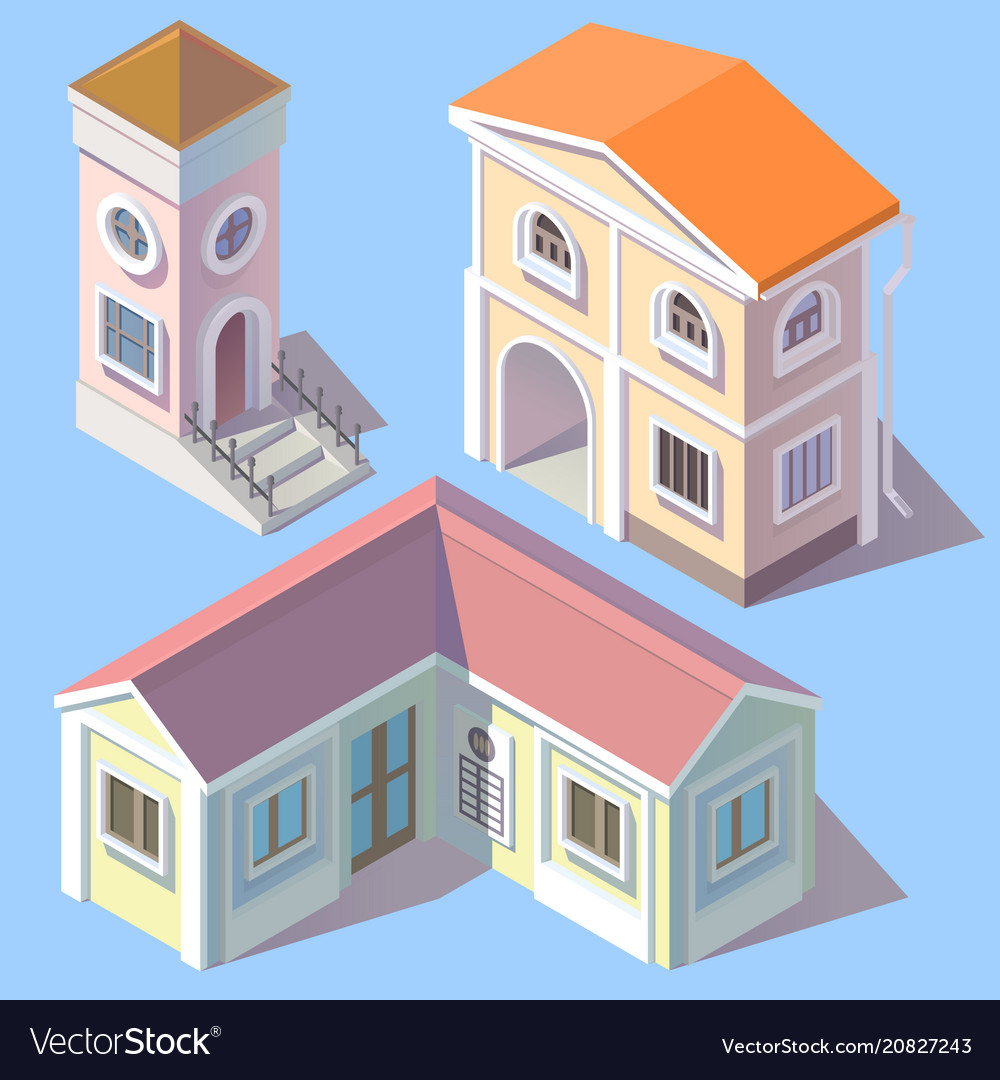 Isometric residential buildings in cartoon